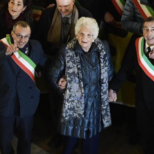Demonstration in Milan to show solidarity with Auschwitz survivor and Senator Liliana Segre