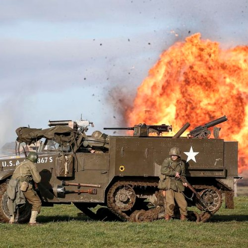 Re-enactment in Belgium on the 75th Anniversary of the Battle of the Bulge in Bastogne