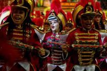 epa08237227 Members of the Grupo Especial Dragões da Real samba school take part in the traditional carnival parade at Ahembi sambadrome in Sao Paulo, Brazil, 22 February 2020. EPA-EFE/Sebastiao Moreira