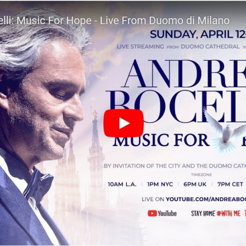 Andrea Bocelli to perform Easter concert in empty Milan Duomo