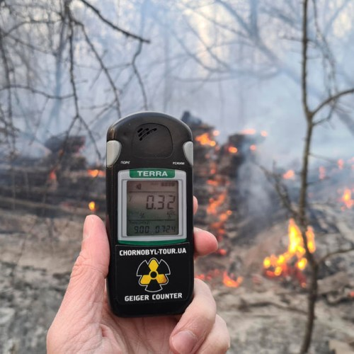 Forest fire at exclusion zone around Chernobyl nuclear power plant