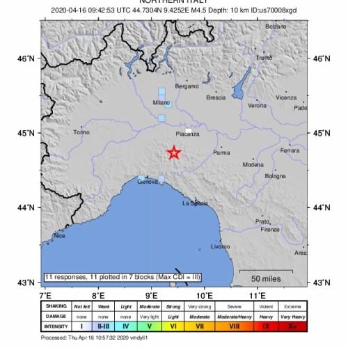 Earthquake shakes Piacenza, Italy