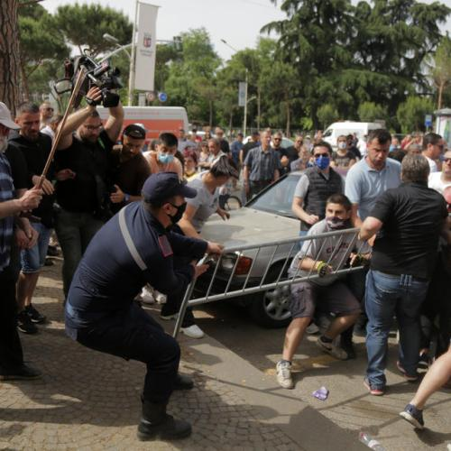 Angry protests after demolition of Albanian national theatre