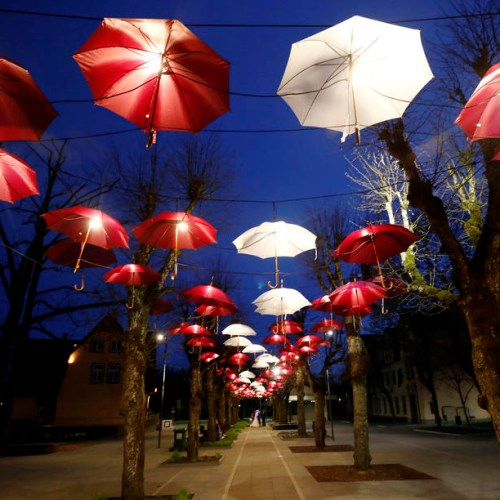 Photo Story: Umbrella installation in Ogre in the colours of Latvia