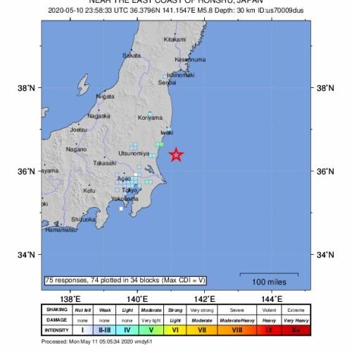5.5 earthquake off the eastern Japan