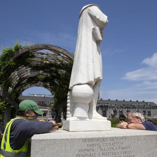 Photo Story: Columbus statue beheaded in Boston