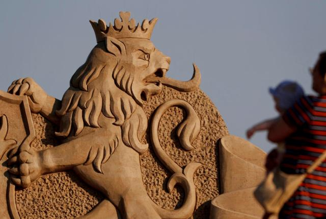 Artists create stunning scultpures from sand, water at festival in central Latvia