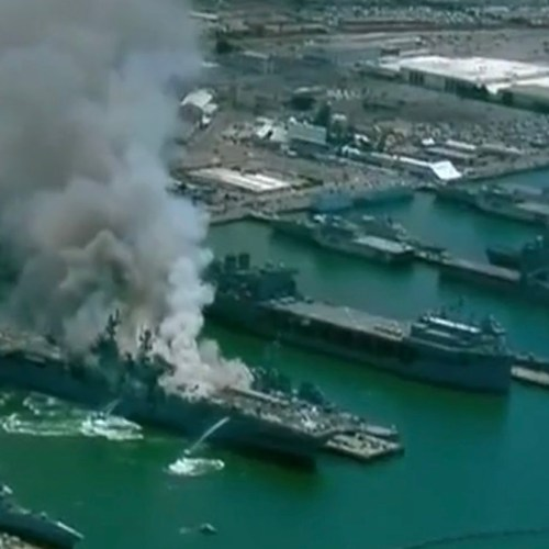 US navy ship catches fire in San Diego