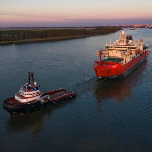 Photo Story: Australia's new icebreaker on the move from Romanian shipyard