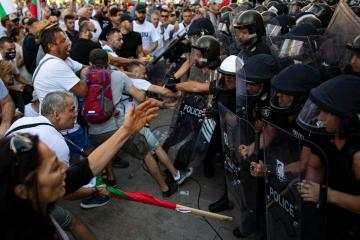 Scuffles during anti-government protests in Bulgaria
