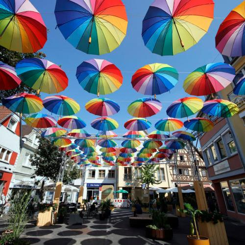 Photo Story: 'Umbrella Road' advertises car-free city center in Bad Mergentheim