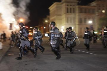 Police officers shot during nationwide protests in the United States