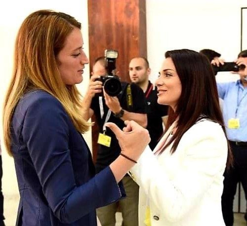 Photo story – Roberta Metsola augurs Miriam Dalli on her co-option in Malta's Parliament