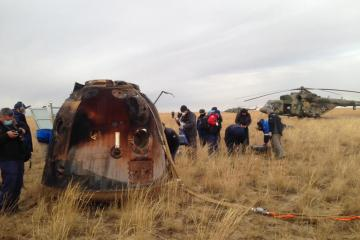 Photo Story: The Soyuz MS-16 space capsule lands in Kazakhstan