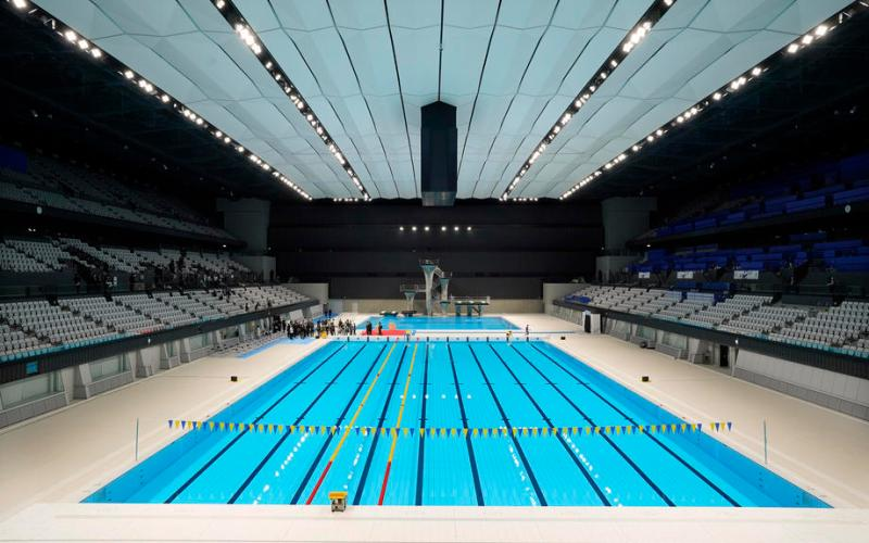 Tokyo Olympics Aquatics Centre unveiled with hopeful ceremony