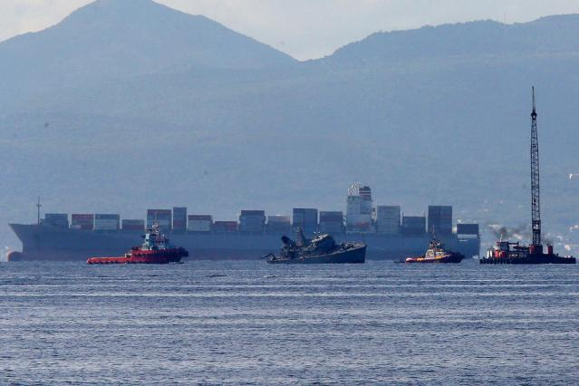Greek Navy Ship collides with Portuguese cargo ship outside Piraeus port