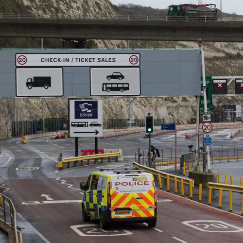 Angry truckers' scuffle with police in English port of Dover