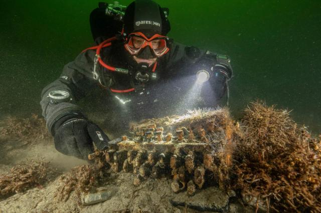 A rare WWII Enigma cipher machine found under water off German coast