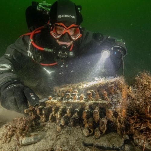 A rare WWII Enigma cipher machine found under water off German coast