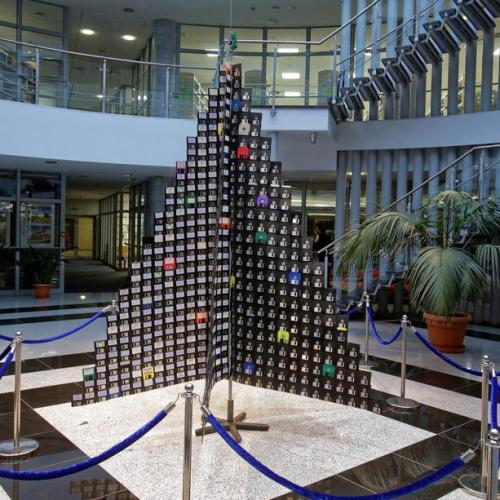 Photo Story: A Christmas tree made from floppy disks in Olsztyn, Poland
