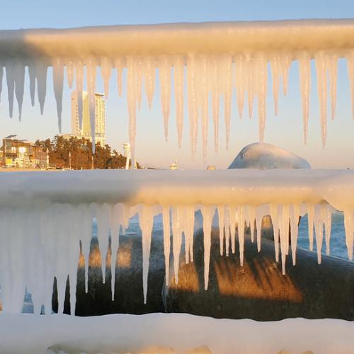Icicles hang near a beach in Gangneung