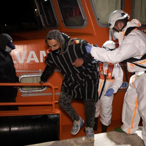 Migrants rescued at sea arrive in Spain