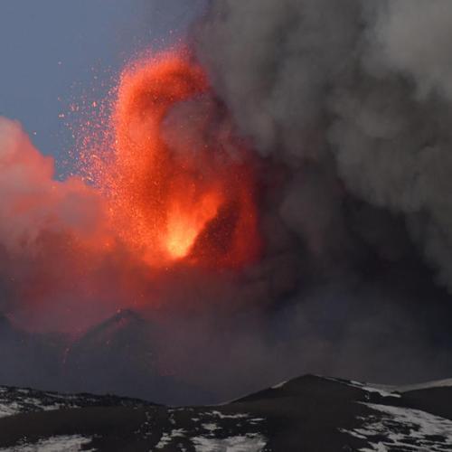 Spectacular Etna Volcano Eruption underway