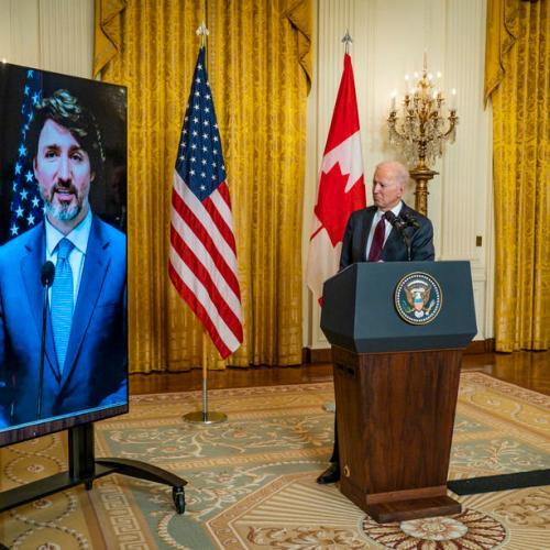 """Biden, Trudeau in warm first """"meeting"""""""