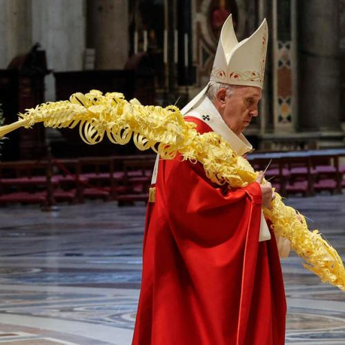 Pope leads scaled-down Palm Sunday service