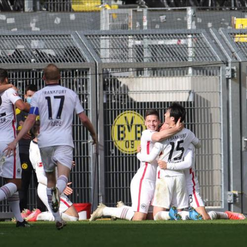 Eintracht win at Dortmund to boost Champions League hopes