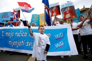Anti-abortion protesters stage a 'Walk for Life' in Croatia