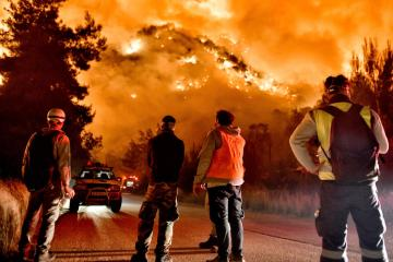 Greece evacuates villages as forest fire rages in Corinth region
