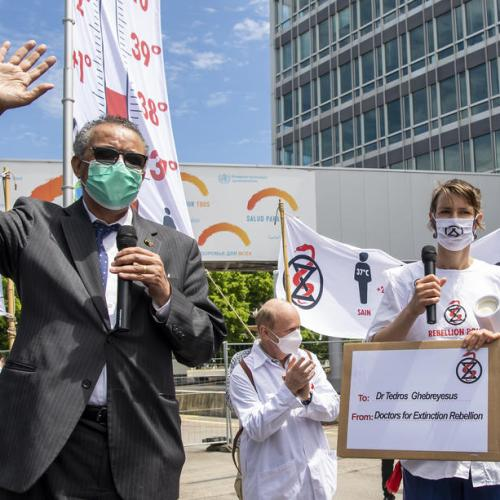 Doctors for Extinction Rebellion collective hold demonstration outside WHO headquarters in Geneva