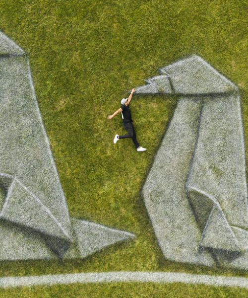 Photo Story: Landart painting World in Progress II by Saype at UN in New York