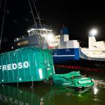 Photo Story: Truck falls off ferry at Hvalpsund, Denmark