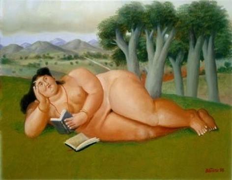 Botero – Mujer leyendo - 1998 - Óleo sobre tela - 48,26 x 37,46 cm