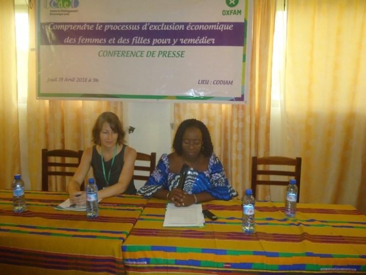 Présentation des allocutions d'Audrey TETU-BERNIER représentante du Directeur Pays d' Oxfam et d'Aline A. DATO Directrice Exécutive du CDEL