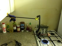 I had a little setup in my kitchen, to quickly dry the glue so i could apply the next layer.