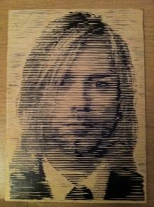 Kurt Cobain wood cut