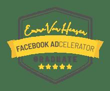 Accreditation logo for Facebook Adcelerator course by Emma Van Heusen.