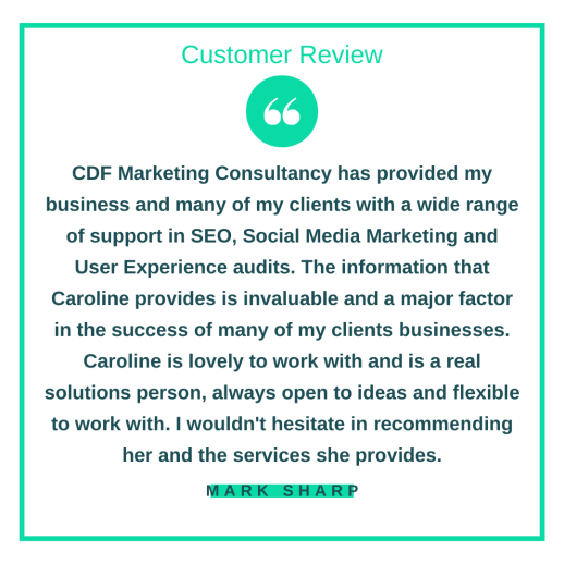 Customer review from Mark Sharp.