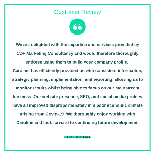 Customer review from Tim Paine.