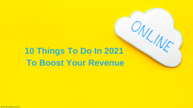 White cloud on a yellow background saying 'online' with text also saying '10 things to do in 2021 to boost your online revenue'