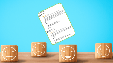 Emojicon faces with a Google review to illustrate the importance of customer reviews in Digital Marketing.