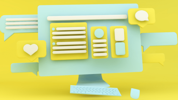 Website design illustration on a yellow background.