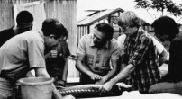 Dr. Sergei Doroshov and colleagues with a white sturgeon (1979).