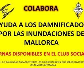 Cartel donación damnificados inundaciones de Mallorca