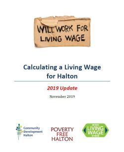 Calculating a Living Wage for Halton - 2019 Update