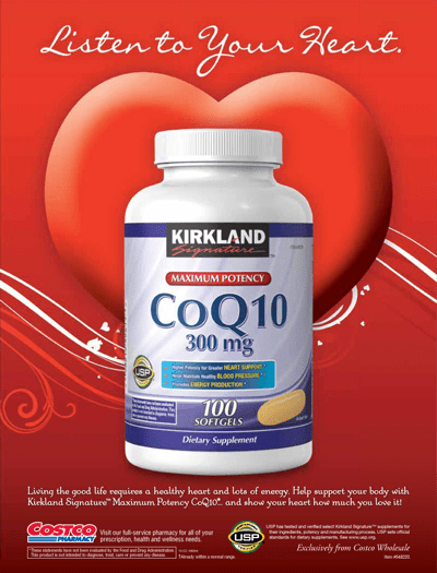 Advertisement: Kirkland Signature™ CoQ10 300 mg., 100 Softgels
