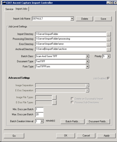 CDIT Import Controller for Kofax Capture Administration Interface